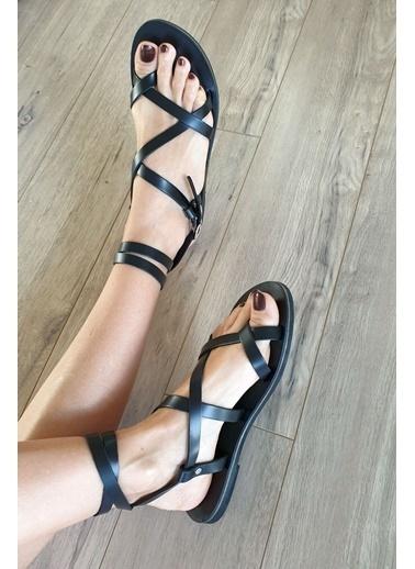Topukla 4012E Hakiki Deri Bodrum Sandalet Siyah